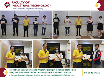 Head of Computer Engineering Program Faculty of Industrial Technology being a representative of InterLink Company To students at Year 3-4 in Computer Engineering Program Received training from the LINK CAMPUS CABLING 2019