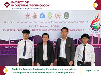 "Student in Computer Engineering Presenting research results on ""Development of Suan Sunandha Rajabhat University PR Robot"""