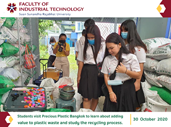 Students visit Precious Plastic Bangkok to learn about adding value to plastic waste and study the recycling process.
