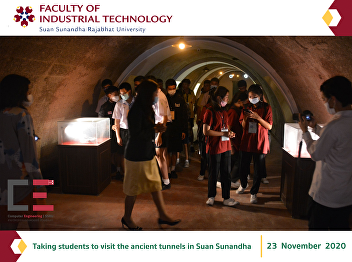 Taking students to visit the ancient tunnels in Suan Sunandha