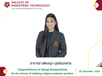 Congratulations on Apinya Mungomklang On the chance of holding a higher academic position